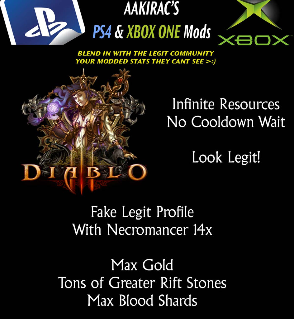 "14x ""FAKE LEGIT"" + (NECROMANCER) Stat Modded Characters - Blend in w/ the Legit Community-Diablo 3 Mods - Playstation 4, Xbox One, Nintendo Switch"
