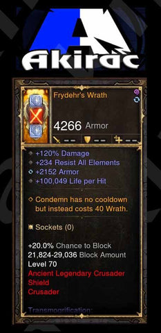 Frydehr's Wrath 120% Damage, +2k Armor, 100k Life per Hit Modded Shield Crusader-Diablo 3 Mods - Playstation 4, Xbox One, Nintendo Switch