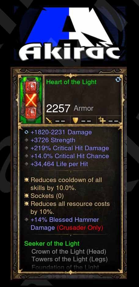 Heart of the Light 219% CHD, 14% CC, 34k, 14% Blessed Hammer Modded Set Chest Crusader-Diablo 3 Mods - Playstation 4, Xbox One, Nintendo Switch