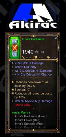 Inna's Radiance 203% Mystic Ally Damage, 219% CHD, 14% CC Modded Set Helm Monk-Diablo 3 Mods - Playstation 4, Xbox One, Nintendo Switch