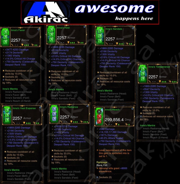 7x Piece Innas Monk Set-Diablo 3 Mods - Playstation 4, Xbox One, Nintendo Switch