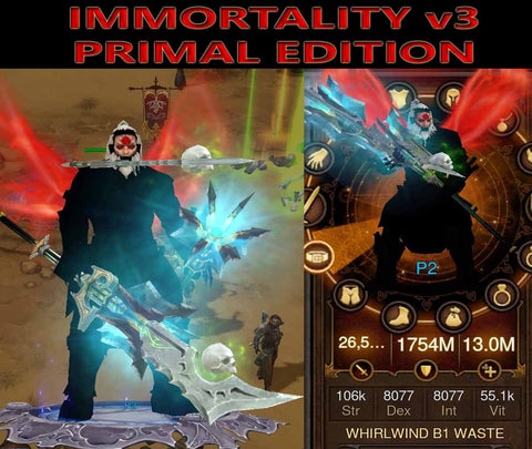 [Primal Ancient] Immortality v3 Waste Barbarian Whirlwind Level 1-70-Diablo 3 Mods - Playstation 4, Xbox One, Nintendo Switch