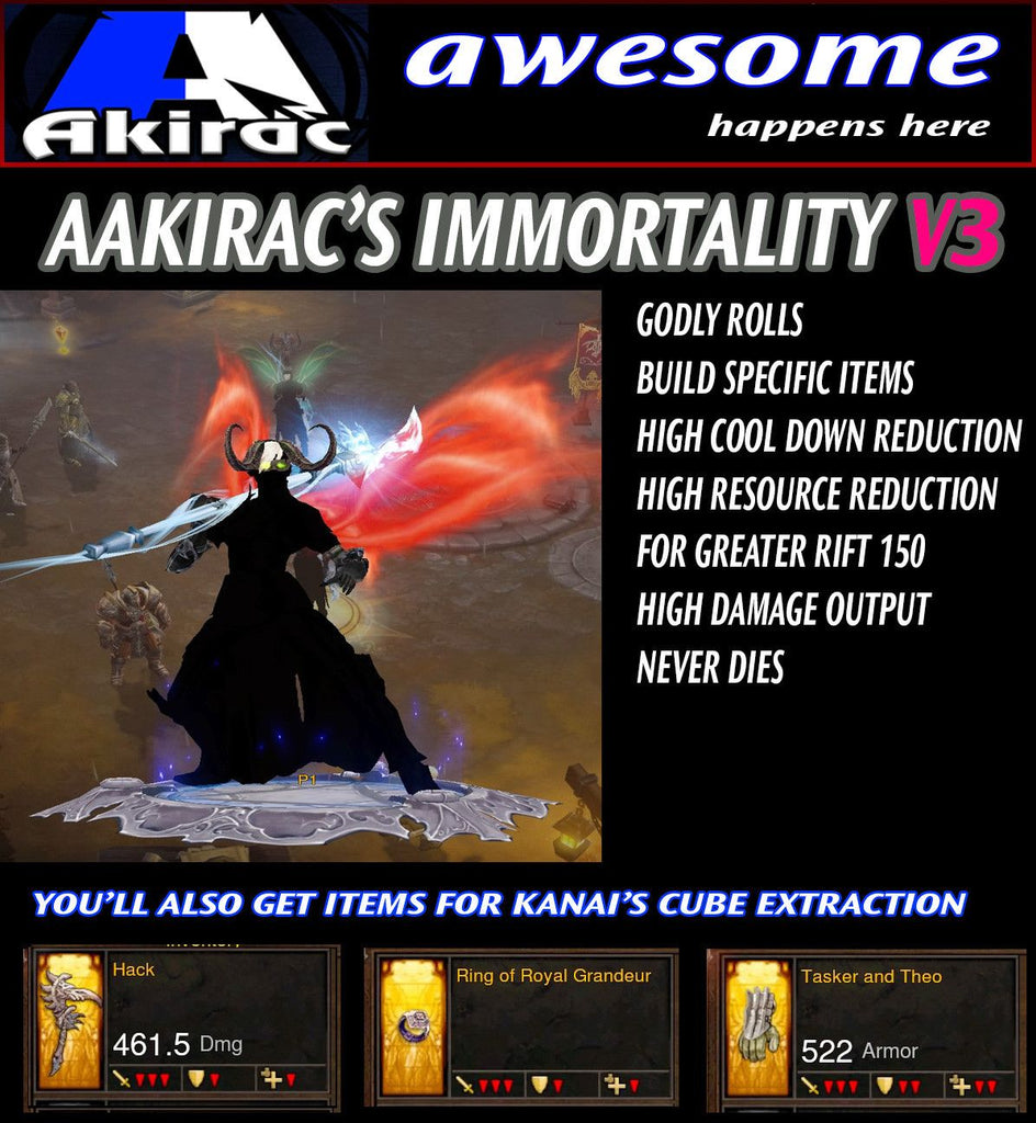 Immortality v3 Innas Monk Modded Set for Rift 150 Primal-Diablo 3 Mods - Playstation 4, Xbox One, Nintendo Switch