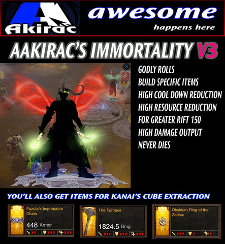 Immortality v3 Vyr's Wizard Modded Set for Rift 150 Abyss-Diablo 3 Mods - Playstation 4, Xbox One, Nintendo Switch