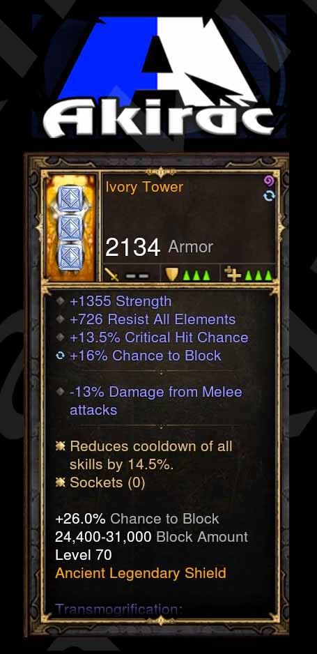 Ivory Tower 1.3k Str, +726 Resist, 14% CDR Modded Shield-Diablo 3 Mods - Playstation 4, Xbox One, Nintendo Switch