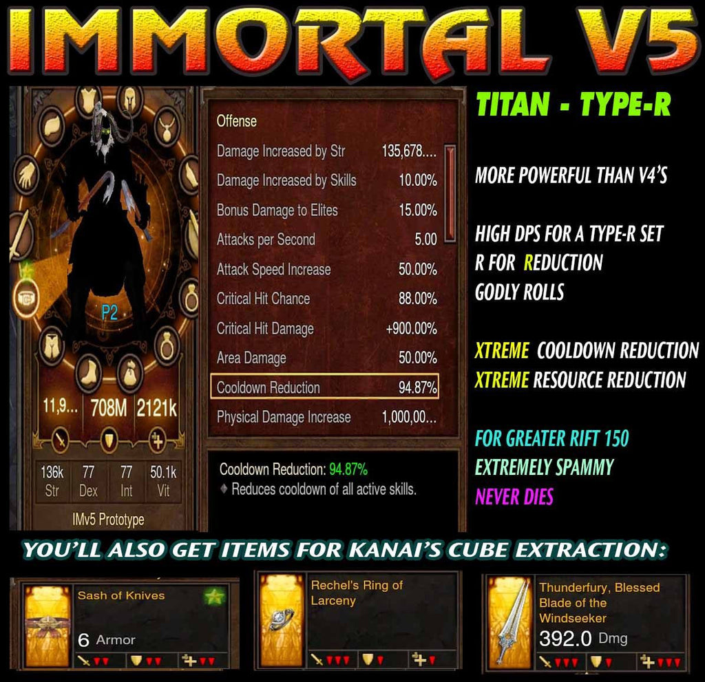 [Created 1/26/17] Immortality v5 Titan Type-R FOH Speed WW Waste Barbarian Modded Set for Rift 150 Wind-Diablo 3 Mods - Playstation 4, Xbox One, Nintendo Switch