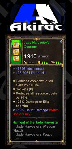 Jade Harvesters Courage 35k Life per Hit, 26% Elite Damage, 12% Haunt Damage, 6k Int Modded Set Witch Doctor Pants-Diablo 3 Mods - Playstation 4, Xbox One, Nintendo Switch