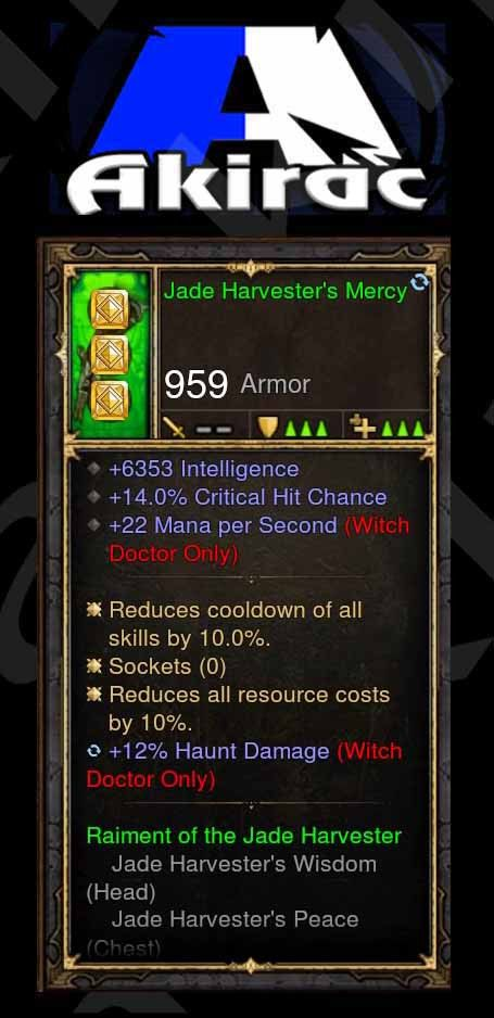 Jade Harvesters Mercy 14% CC, 22 Mana Per Second, 6.3k Int, 12% Haunt Damage Modded Set Witch Doctor Gloves-Diablo 3 Mods - Playstation 4, Xbox One, Nintendo Switch