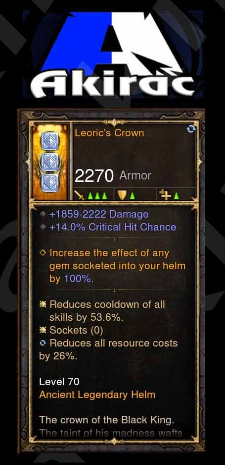 Leoric's Crown 53% CDR, 26% RR, 14% Crit Helm Modded-Diablo 3 Mods - Playstation 4, Xbox One, Nintendo Switch