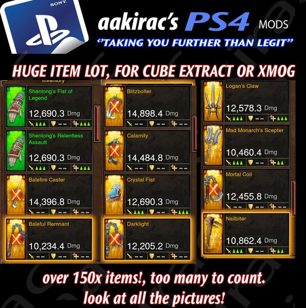XMOG - TRANSMOG & CUBE EXTRACTION 170x + BUNDLE #1-Diablo 3 Mods - Playstation 4, Xbox One, Nintendo Switch