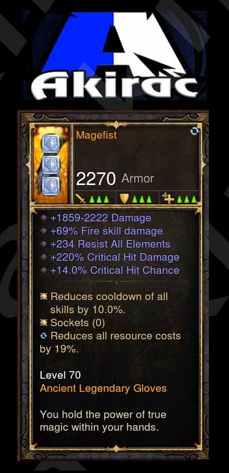 Magefist 69% Fire Damage, 14% CC, 220% CHD Modded Gloves-Diablo 3 Mods - Playstation 4, Xbox One, Nintendo Switch