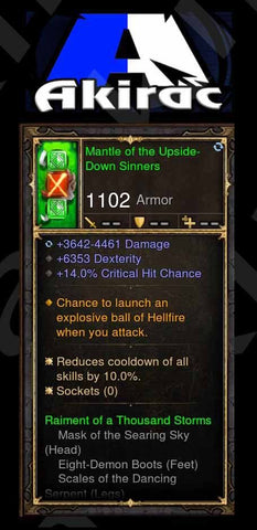 Mantle of the Upside-Down Sinners 6.3k Dex, 14% CC%, Fireball Modded Set Shoulders Monk-Diablo 3 Mods - Playstation 4, Xbox One, Nintendo Switch