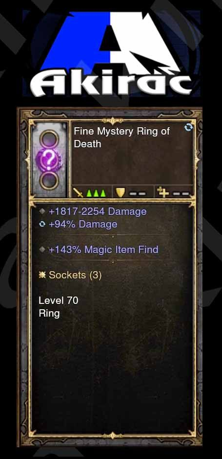 Kadala's Mystery Modded Ring 143% Magic Find, 94% Damage (Unsocketed, White)-Diablo 3 Mods - Playstation 4, Xbox One, Nintendo Switch