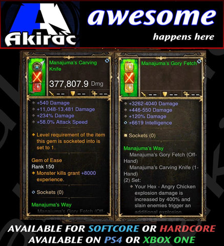 Manajuma's Knife + Mojo Offhand Combo 377k Modded Weapon-Diablo 3 Mods - Playstation 4, Xbox One, Nintendo Switch
