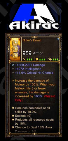 Nilfur's Boast Wizard 4.9k Int, 14% Crit, 18% Area Damage Modded Boots-Diablo 3 Mods - Playstation 4, Xbox One, Nintendo Switch