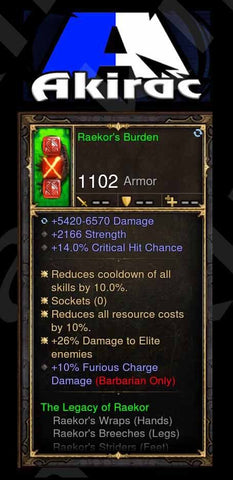 Raekor's Burden 5.4k-6.5k Damage, 14% CC, 10% Furious Charge Damage, +26% Elite Damage Modded Set Barbarian Shoulders-Diablo 3 Mods - Playstation 4, Xbox One, Nintendo Switch