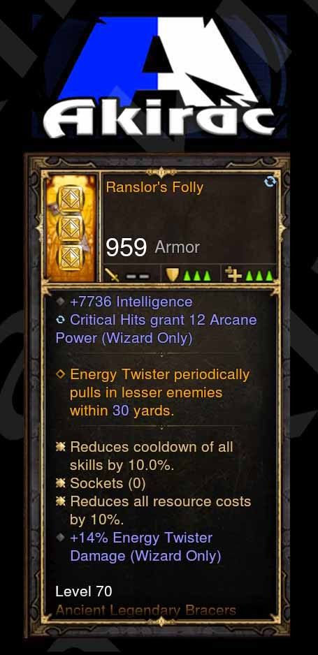 Ranslor's Folly 7.7k Int, 12 Arcane on Crit, 14% Energy Twister Damage Bracers Modded Wizard-Diablo 3 Mods - Playstation 4, Xbox One, Nintendo Switch