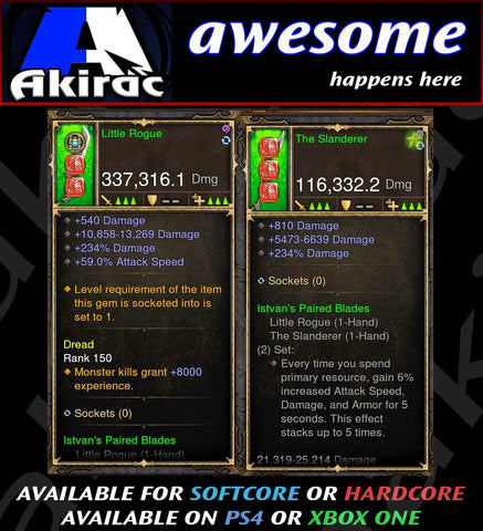 Little Rogue + Slanderer Combo 337k / 116k Modded Weapon-Diablo 3 Mods - Playstation 4, Xbox One, Nintendo Switch
