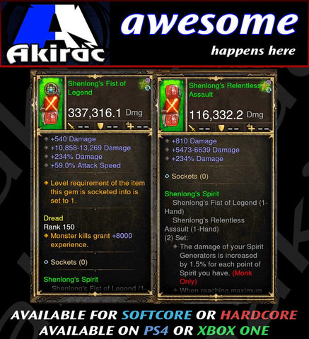 Shenlongs Fist Combo 337k / 116k Modded Weapon-Diablo 3 Mods - Playstation 4, Xbox One, Nintendo Switch