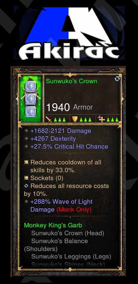 Sunwuko's Crown 4k Dex, 27% CC, 288% Wave of Light Damage Modded Set Helm Monk-Diablo 3 Mods - Playstation 4, Xbox One, Nintendo Switch