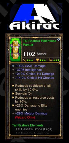 Tal Rasha's Relentless Pursuit 3.7k Int, 14% CC, 219% CHD, 26% Elite Damage, 29% Meteor Modded Set Wizard Chest-Diablo 3 Mods - Playstation 4, Xbox One, Nintendo Switch