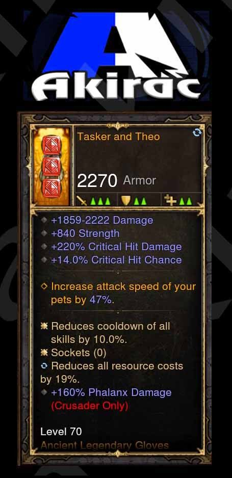 Tasker and Theo 220% CHD, 14% CC, 160% Phalanx Damage Modded Set Gloves Crusader-Diablo 3 Mods - Playstation 4, Xbox One, Nintendo Switch