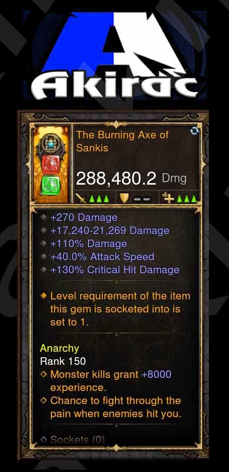 Burning Axe of Sankis 288k Modded Weapon-Diablo 3 Mods - Playstation 4, Xbox One, Nintendo Switch
