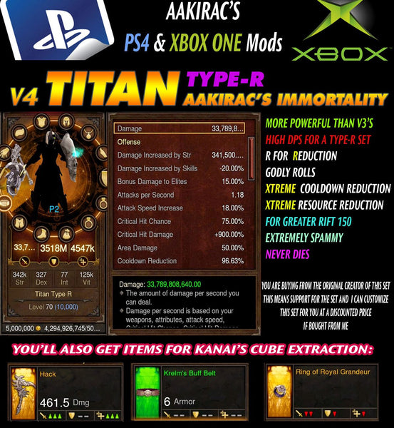 Immortality v4 Titan Type-R Akkhan's Crusader Modded Set for Rift 150 Aurora-Diablo 3 Mods - Playstation 4, Xbox One, Nintendo Switch