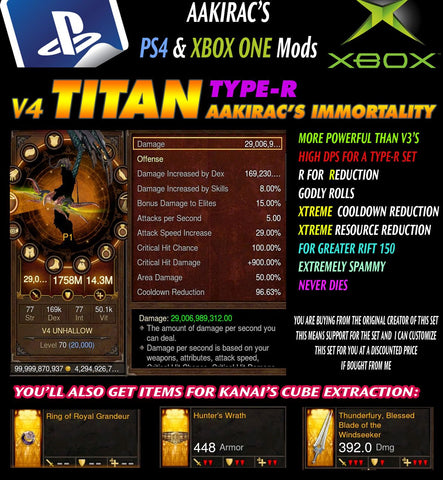 Immortality v4 Titan Type-R Unhallow Demon Hunter Modded Set for Rift 150 Denial-Diablo 3 Mods - Playstation 4, Xbox One, Nintendo Switch