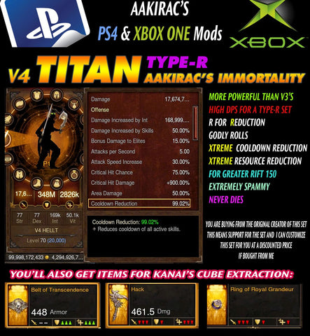 Immortality v4 Titan Type-R Anachyr Witch Doctor Modded Set for Rift 150 Damned-Diablo 3 Mods - Playstation 4, Xbox One, Nintendo Switch