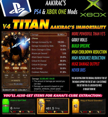 Immortality v4 Titan Waste Barbarian Modded Set for Rift 150 Bul-Kathos-Diablo 3 Mods - Playstation 4, Xbox One, Nintendo Switch