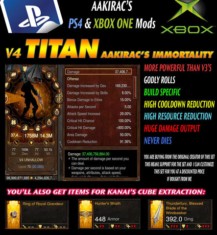 Immortality v4 Titan Unhallow Demon Hunter for Rift 150 Defiant-Diablo 3 Mods - Playstation 4, Xbox One, Nintendo Switch