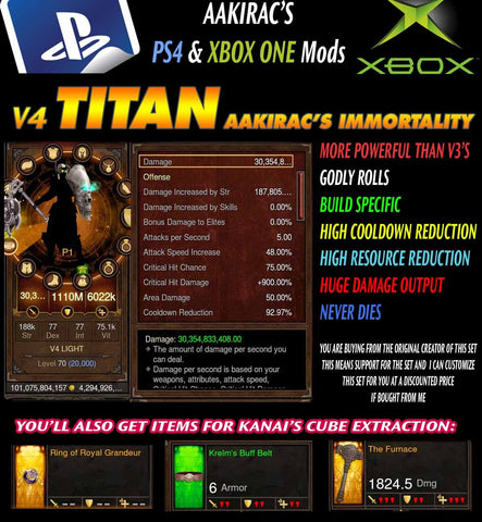 [Created: 9/10/16] Immortality v4 Titan Light Crusader Modded Set for Rift 150 Cypress-Diablo 3 Mods - Playstation 4, Xbox One, Nintendo Switch