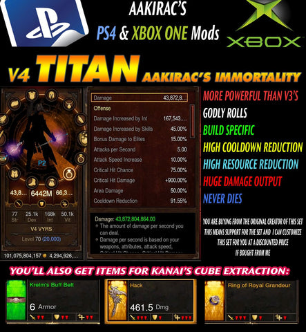 Immortality v4 Titan VYRS ARCHON Wizard (Created: 08-22-16) Modded Set for Rift 150 Abyssal-Diablo 3 Mods - Playstation 4, Xbox One, Nintendo Switch