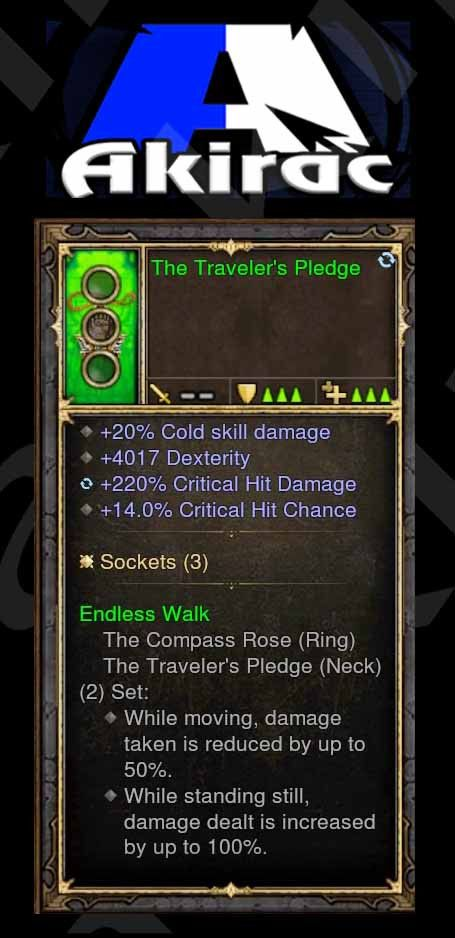 Traveler's Pledge 20% Cold, 4k Dexterity, 220% CHD, 14% CC (Unsocketed) Modded Amulet-Diablo 3 Mods - Playstation 4, Xbox One, Nintendo Switch
