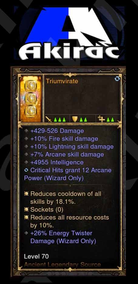 Triumvirate 4.8k Int, 10/10/7, 12 Arcane on Crit, 26% Energy Twister Modded Set Wizard Offhand Source-Diablo 3 Mods - Playstation 4, Xbox One, Nintendo Switch