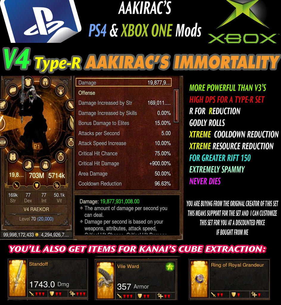 Immortality v4 Type-R Raekor Barbarian Modded Set for Rift 150 Rampant-Diablo 3 Mods - Playstation 4, Xbox One, Nintendo Switch