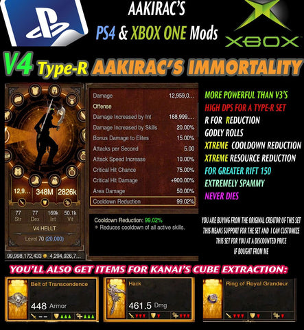 [DISCOUNT | PS4 | SOFTCORE] Immortality v4 Type-R Anachyr Witch Doctor Modded Set for Rift 150 VooDoo-Diablo 3 Mods - Playstation 4, Xbox One, Nintendo Switch