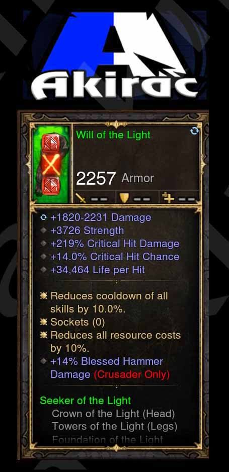 Will of the Light 219% CHD, 14% CC, 34k Life per Hit, 14% Blessed Hammer Damage Modded Set Chest Gloves-Diablo 3 Mods - Playstation 4, Xbox One, Nintendo Switch