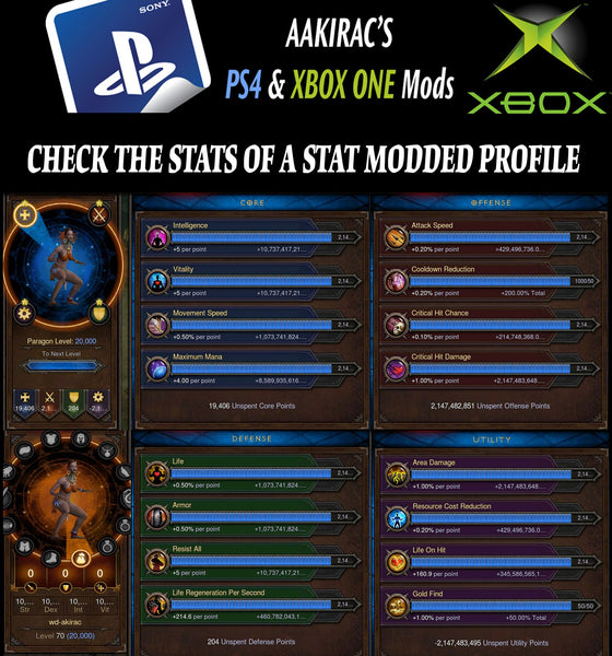 2x EXTREME Stat Modded Characters w/ Materials and Pets Bundle-Diablo 3 Mods - Playstation 4, Xbox One, Nintendo Switch