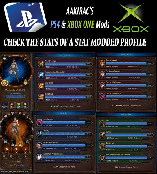 14x EXTREME Stat Modded Characters + Necromancer Stat Mod-Diablo 3 Mods - Playstation 4, Xbox One, Nintendo Switch