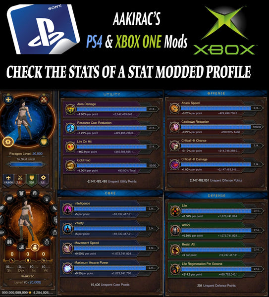 6x EXTREME Stat Modded Characters w/ Materials and Pets Bundle-Diablo 3 Mods - Playstation 4, Xbox One, Nintendo Switch