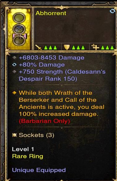 100% Increased Damage Barbarian Modded Ring (Unsocketed) Abohorrent-Diablo 3 Mods - Playstation 4, Xbox One, Nintendo Switch