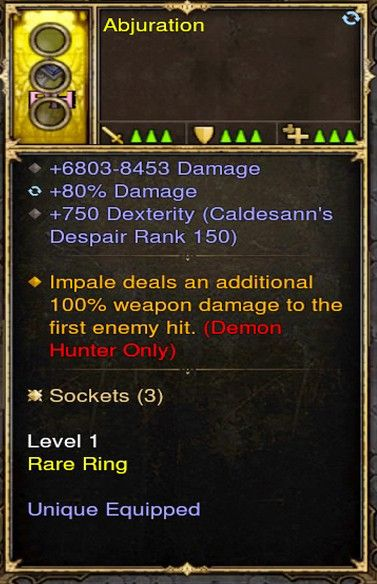Impale 100% Damage Demon Hunter Modded Ring (Unsocketed) Abjuration-Diablo 3 Mods - Playstation 4, Xbox One, Nintendo Switch