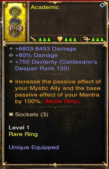 Increase Passives, Mystic, Mantra Effects by 100% Monk Modded Ring (Unsocketed) Academic-Diablo 3 Mods - Playstation 4, Xbox One, Nintendo Switch