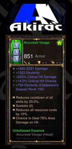 Custom PS4: Accursed Visage 220% CHD, 14% Crit, 76% Area Damage on Hit Modded Helm-Diablo 3 Mods - Playstation 4, Xbox One, Nintendo Switch