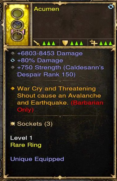 Warcry, Shout Causes Avalance Barbarian Modded Ring (Unsocketed) Acumen-Diablo 3 Mods - Playstation 4, Xbox One, Nintendo Switch