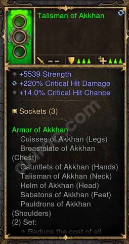 2.4.3 Talisman of Akkhan 5k STR, 220% CHD, 14 CC (Unsocketed) Modded Amulet-Diablo 3 Mods - Playstation 4, Xbox One, Nintendo Switch