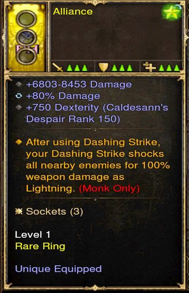 Shock Enemies by 100% Damage Dashing Strike Monk Modded Ring (Unsocketed) Alliance-Diablo 3 Mods - Playstation 4, Xbox One, Nintendo Switch