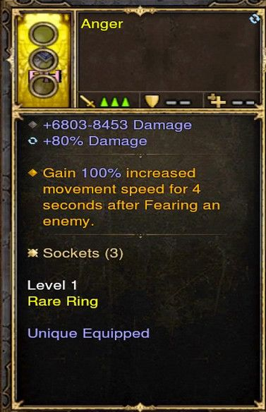 Gain 100% Movement Speed Fear FOH Modded Ring (Unsocketed) Anger-Diablo 3 Mods - Playstation 4, Xbox One, Nintendo Switch